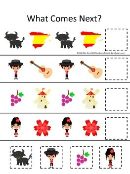 Spain themed What Comes Next preschool educational learning game. Daycare.
