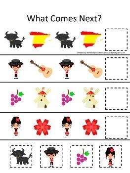 Spain themed What Comes Next preschool educational learnin