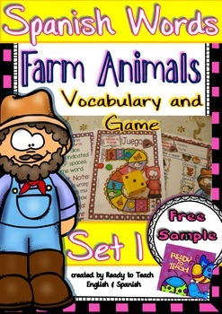 Spanish Words - Vocabulary and Game - (Farm Animals) - Set 1 FREE