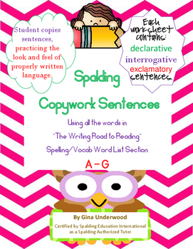 Spalding Copywork Sentences Section A-G
