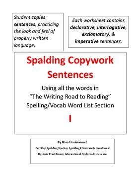 Spalding Copywork Sentences Section I