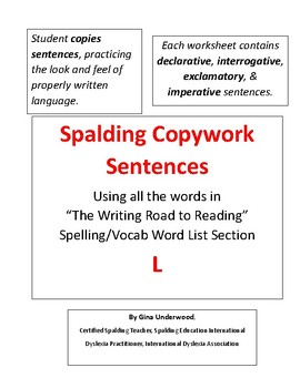 Spalding Copywork Sentences Section L