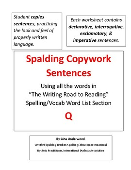 Spalding Copywork Sentences Section Q