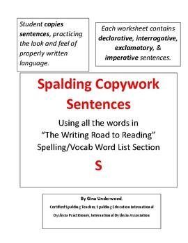 Spalding Copywork Sentences Section S