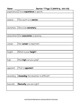Spalding Copywork Sentences Section V