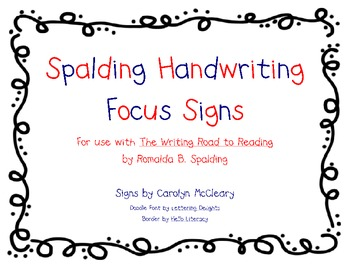 spalding handwriting focus signs by carolyn mccleary tpt. Black Bedroom Furniture Sets. Home Design Ideas
