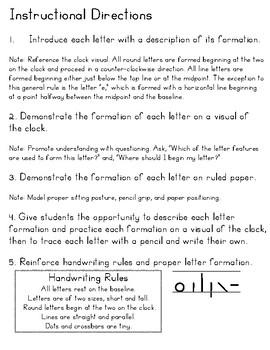 Spalding Manuscript Handwriting Instructional Handouts