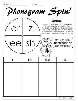 Spalding Phonogram Spinner Worksheets (Single Sound)