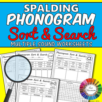 Spalding Phonogram Worksheets – Sort and Search (all multiple sound phonograms)