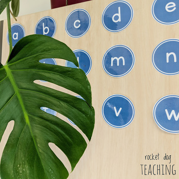 Alphabet and Spalding Phonograms for Classroom Display (Blue and Gold)