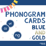 Spalding Phonograms and Alphabet Letters for Games and Display (Blue and Gold)