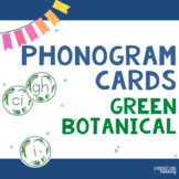 Alphabet and Spalding Phonograms for Classroom Display (Green Botanical)