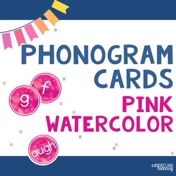 Alphabet and Spalding Phonograms for Classroom Display (Pink Watercolour)