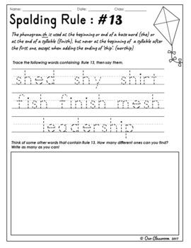 Spalding Rules 11-20 Worksheets