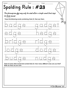 Spalding Rules 21-29 Worksheets