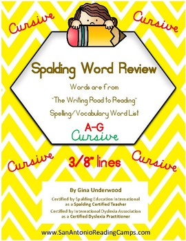 Spalding Word Review Section A-G CURSIVE