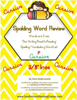 Spalding Word Review Section P CURSIVE