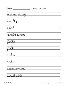 Spalding Word Review Section T CURSIVE