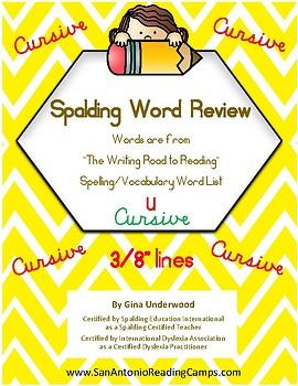 Spalding Word Review Section U CURSIVE