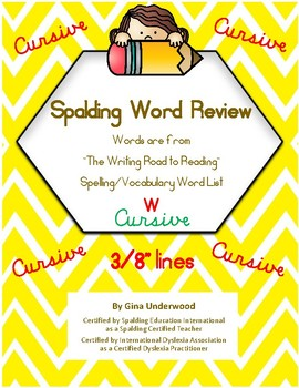 Spalding Word Review Section W CURSIVE