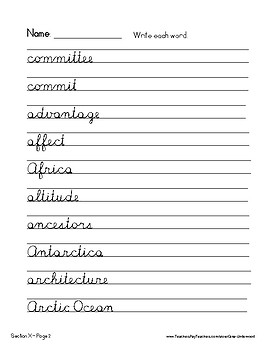 Spalding Word Review Section X CURSIVE