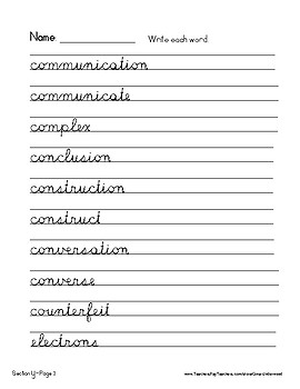 Spalding Word Review Section Y CURSIVE