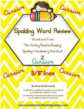 Spalding Word Review Section Z CURSIVE