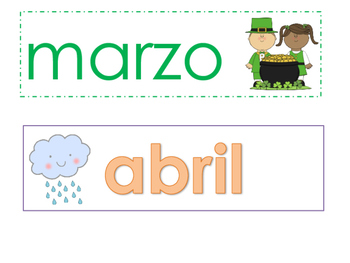 Spanish Months Calendar Toppers