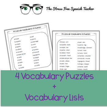 Spanish Body / El Cuerpo Vocabulary Puzzle