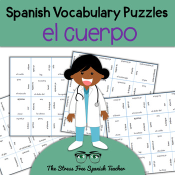 Spanish Body Vocabulary, Matching Squares Puzzle