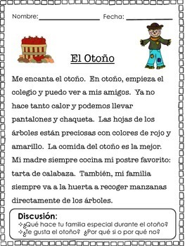 Spanish Fall Themed text 3 ways: Reading, Fill-in vocabulary, Fill-ins