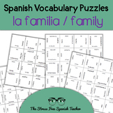 Spanish Family Vocabulary, Matching Squares Puzzle