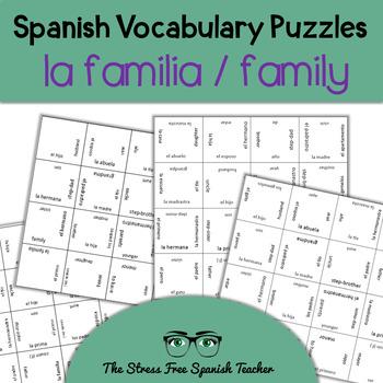Spanish Family Vocabulary, Matching Squares Puzzle