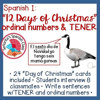 Spanish 1 - 12 Days of Christmas Interview Activity w/ TEN