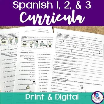 Spanish 1 & 2 & 3 Entire Curricula BUNDLE