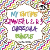 Spanish 1 & 2 & 3 Entire Curriculum BUNDLE - Hard Good