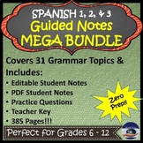 Spanish 1, 2, & 3 Guided Notes MEGA Bundle with Teacher Keys