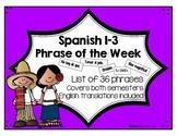 Spanish 1, 2, & 3 Phrase of the Week List (Español 1, 2, y