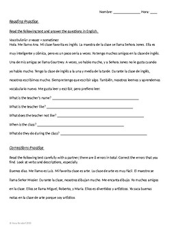 Spanish 1-2 - Favorite Class Reading and Error Correction Practice - Worksheet