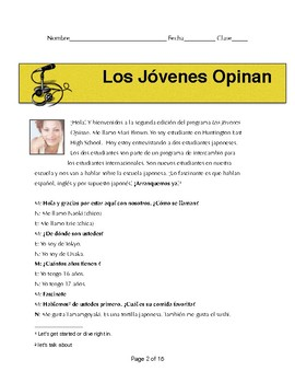 Spanish 1/2 Reading- Education in Japan- comprehension and writing