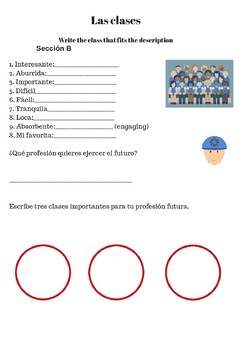 Spanish 1/2 School Supplies Activity: ¿Qué necesitas para la clase?