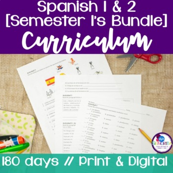 Spanish 1 & 2 {Semester 1s} Curricula BUNDLE