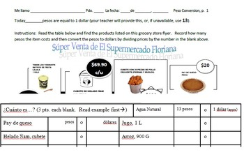 Spanish 1, 2, or 3, in-class or sub work - Converting Prices in Pesos to Dollars