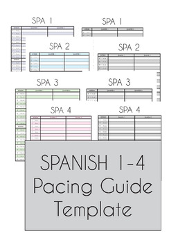 Pacing Guide Template | Spanish 1 4 Pacing Guide Template By La Profe Ska Tpt