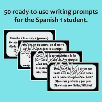 50 Writing Prompts for Spanish 1 / Escritura rápida (Google Drive)