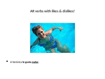 Spanish 1 AR, ER, IR verbs with GUSTAR PowerPoint