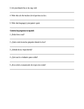 Spanish 1: AR Verb Sheets