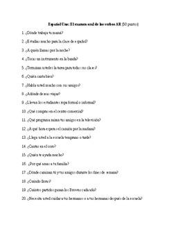 Spanish 1: AR Verb Speaking Exam