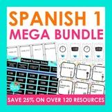 Spanish 1 Activities Mega Bundle   Task Cards, Conversatio