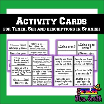Spanish 1: Activity Cards for Tener, Ser and Descriptions